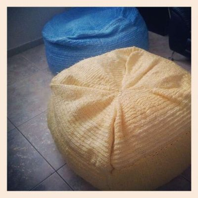 plastic crochet beanbag 400x400 Crochet Blog Roundup: April in Review