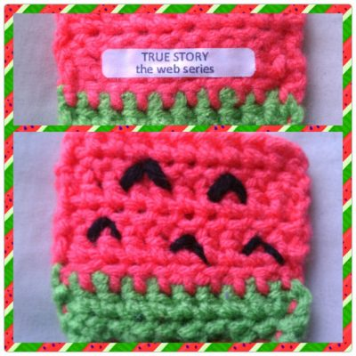 watermelon crochet cozy 400x400 Actress and Crochet Artist Sarah Louisa Burns