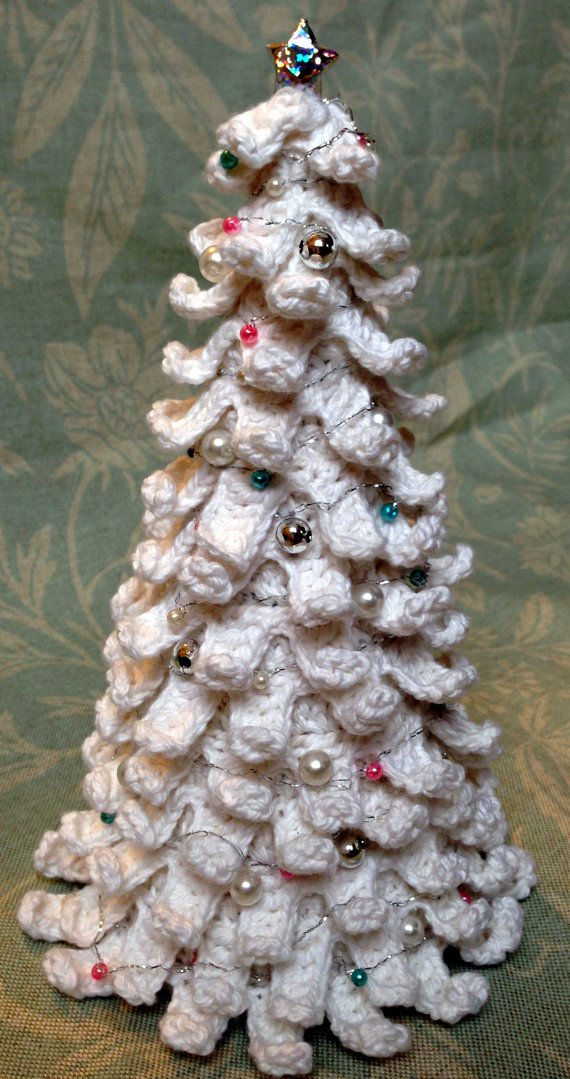 white crochet christmas tree 16 Heartwarming Examples of Beautiful Crochet Christmas Decor