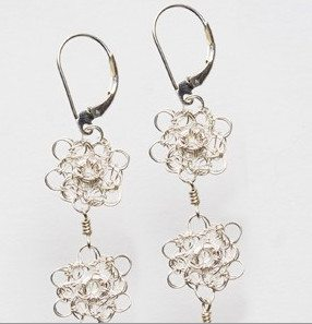 crochet flower earrings Wire Crochet Jewelry Artist Miriam Chor Freitas