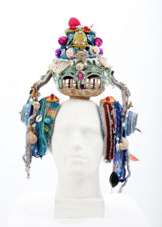 crochet headpiece Exotic and Common Combined in Crochet Artist Karin Kempfs Creations