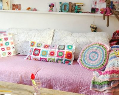 crochet squares pillow