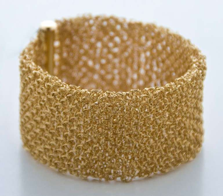 gold crochet wire bracelet