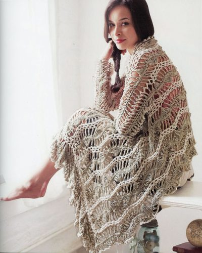 large crochet shawl pattern1 400x500 10 Terrific Crochet Shawl Pattern Designers and their Most Popular Patterns