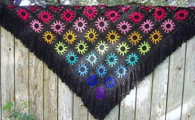 rainbow crochet shawl 400x246 100 Unique Crochet Shawls