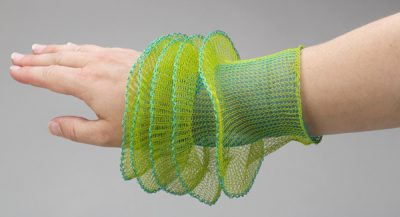 arline fisch crochet bracelet 400x217 Crocheted Wire Jewelry of New York Artist Arline Fisch