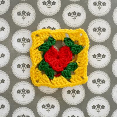 Praça de vovó coração de crochet free padrão