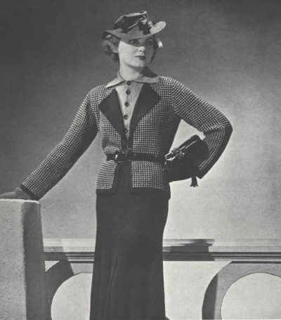 crochet knit suit pattern 400x455 50 Years of Crochet History: 1936