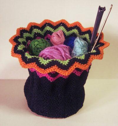 cesta de fio de crochê