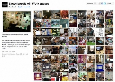 encyclopedia of work spaces 400x287 My Crochet Work Space in an Art Project