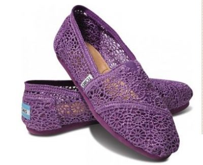 purple crochet toms shoes