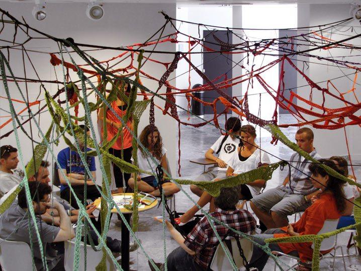 sheila pepe crochet art installation