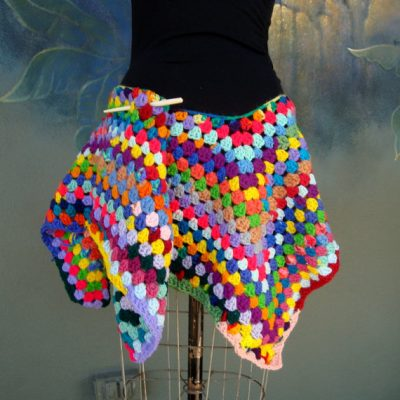 crochet rainbow mini skirt