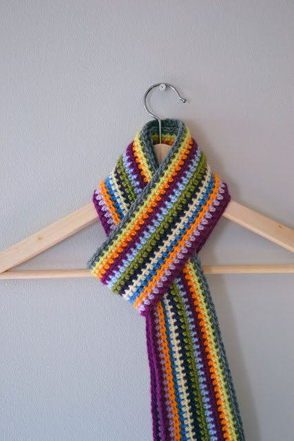 crochet stripes scarf
