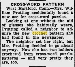 crossword crochet pattern 50 Years of Crochet History: 1937