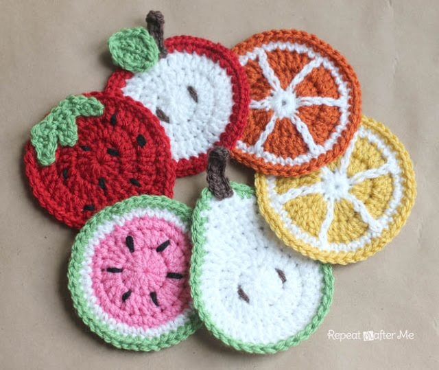 crochet fruit coasters