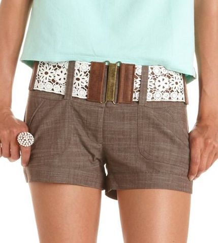 crochet belt shorts