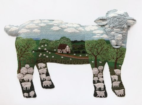 Post image for Large Scale Crochet Sheep Art by Kate Jenkins