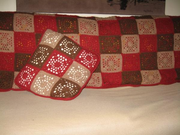 crochet throw and matching cushion