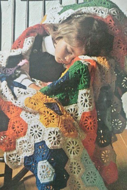 70s crochet blanket