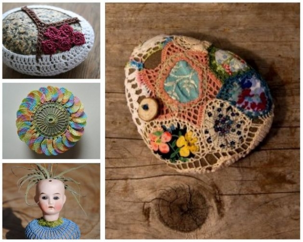 crochet rock art 600x478 2013 in Crochet: Art and Artists