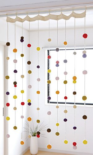 felt balls curtain 10 Beautiful Free Crochet Curtain Patterns
