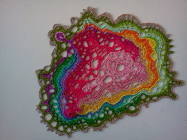 neo doily crochet art 600x450 First Solo Exhibition by Crochet Artist Asimina Chremos