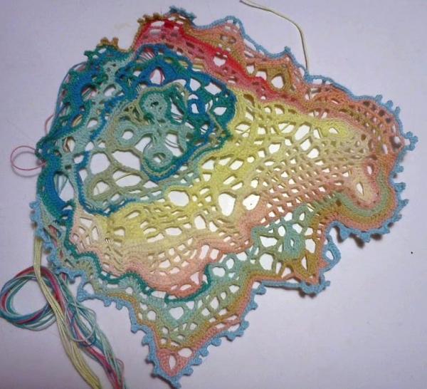 pastel crochet doily art