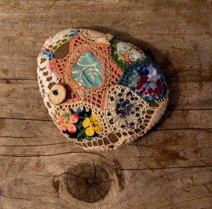 patchwork crochet rock