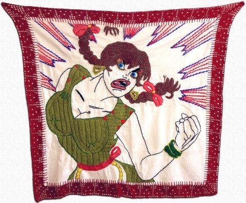 woman embroidery crochet