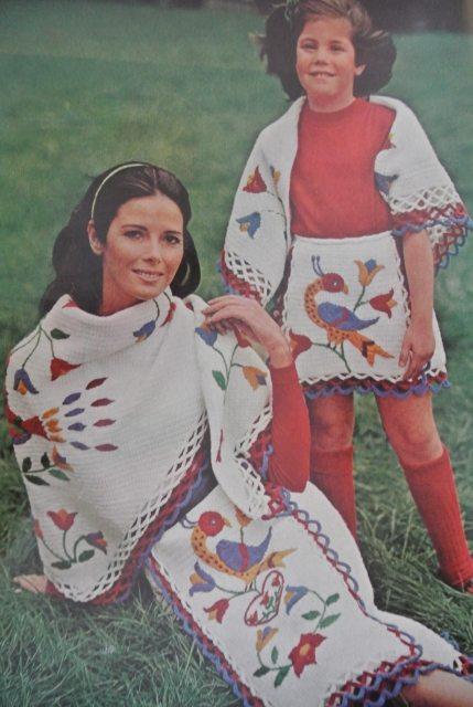 red white blue crochet vintage