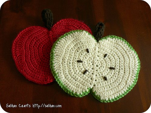 apple crochet dishcloth