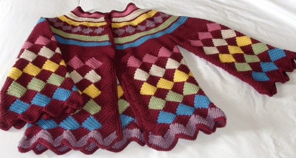 colorful crochet tapestry sweater