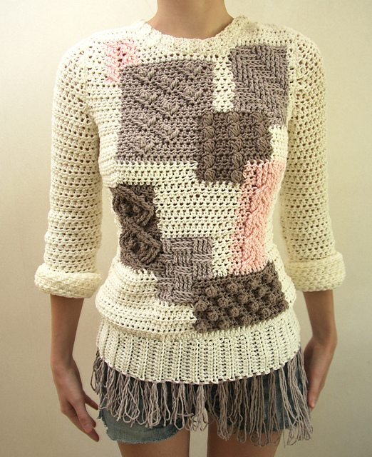 ... unique crochet cablework on the Yoko Sweater pattern by Linda Skuja