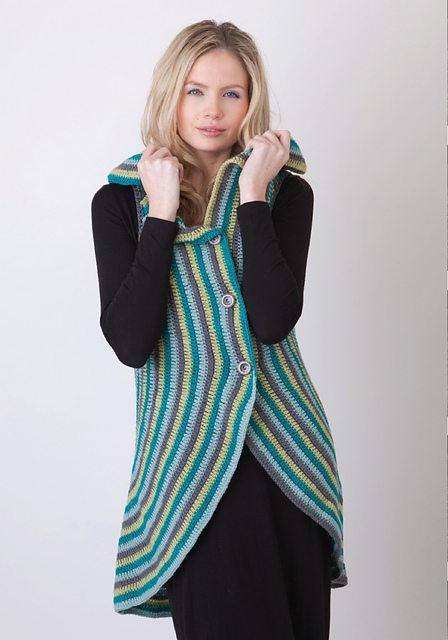 crochet circle stripes cardigan