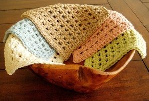 crochet dishcloths on bowl