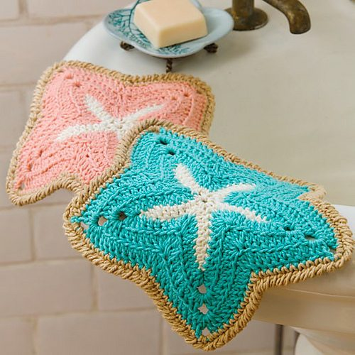 crochet starfish dishcloth
