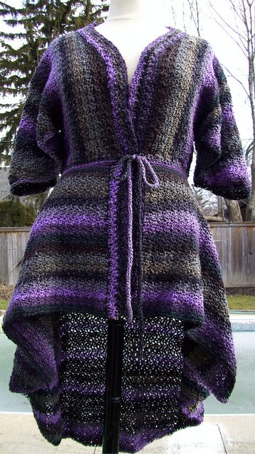 crochet striped cardigan wrap
