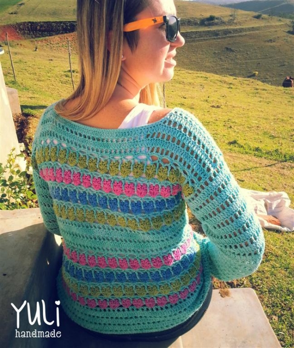 crochet sweater pattern 600x711 100 Unique Crochet Shirts and Sweaters