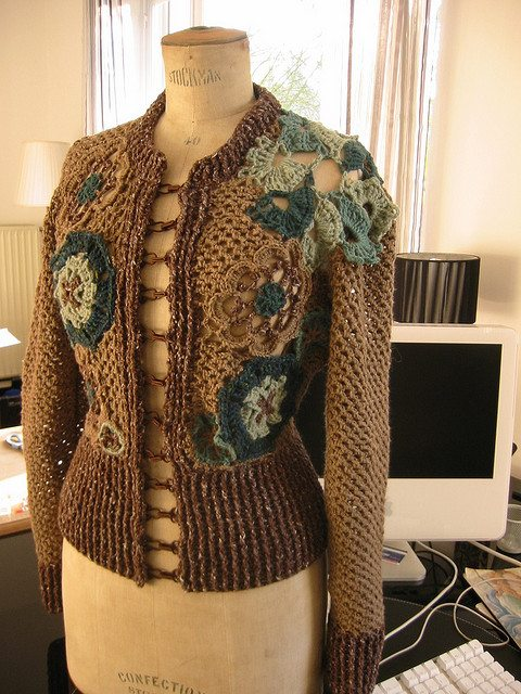 freeform crochet cardigan