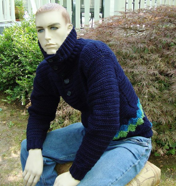 mens cotton crochet sweater