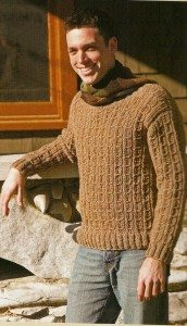 mens crochet mock cable sweater