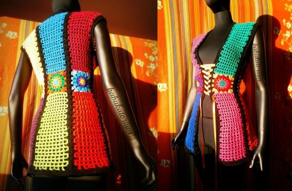 ranibow crochet vest