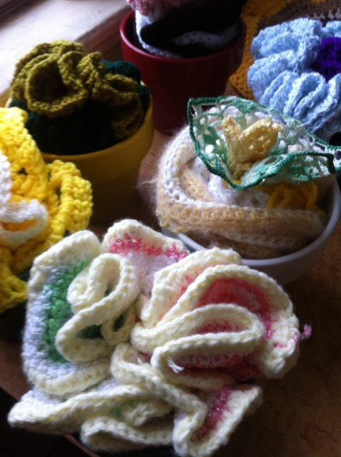 upcycled crochet flowers Repotting for the Brown Thumb: My Crochet Flowers