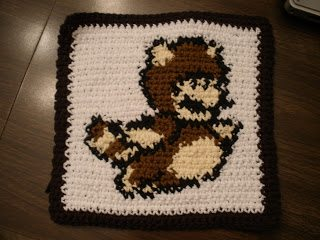 video game crochet dishcloth