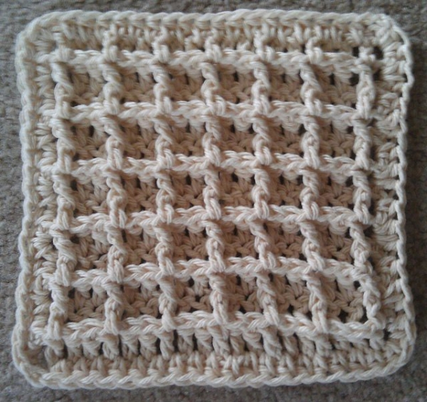 waffle crochet dishcloth pattern 600x564 20 Unique and Beautiful Free Crochet Dishcloth Patterns