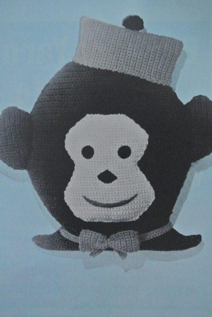 1960s crochet monkey pillow