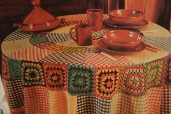granny square gingham tablecloth