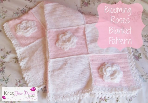 bloeiende rozen gehaakte deken patroon