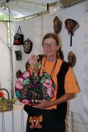 crochet artist irene reed with purse